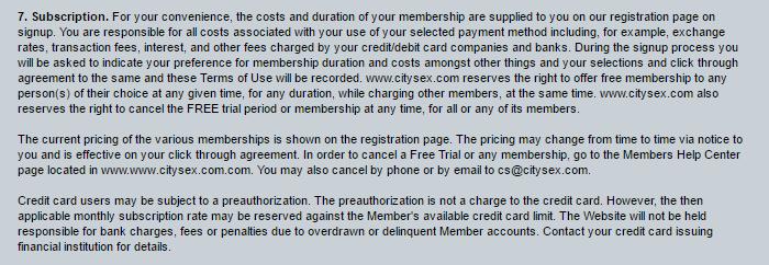 CitySex.com subscription costs