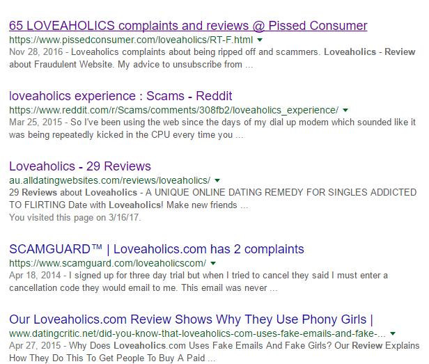 Loveaholics.com bad reviews