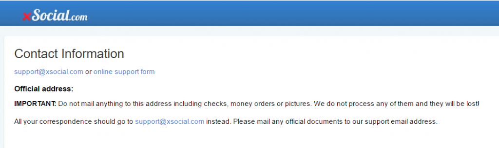 XSocial.com no contact info