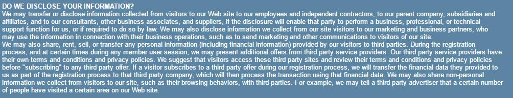 Flirt Buddies Privacy disclosure