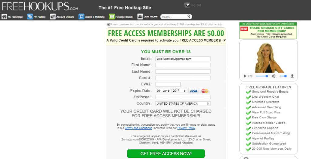 Free Hookups membership is not free