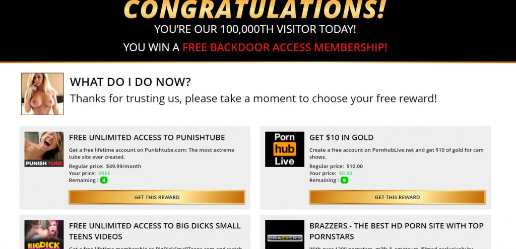 Free Hookups offers fake rewards