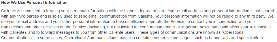 Caliente personal info sharing