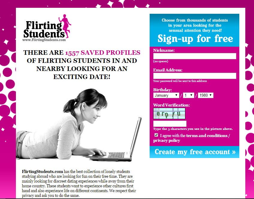 FlirtingStudents.com screencap