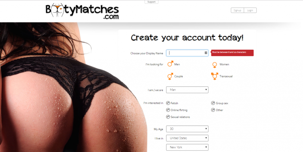 BootyMatches.com Screencap
