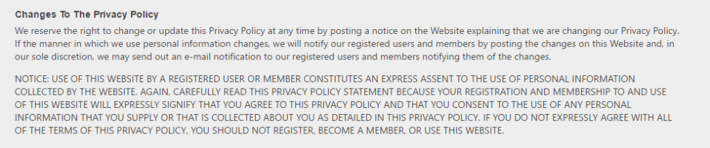 Fuckbook XXX changes of privacy policy