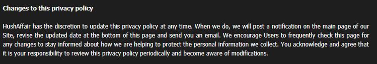Hush Affair privacy policy