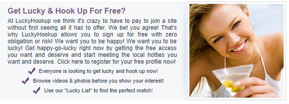 Lucky Hookup free registration.