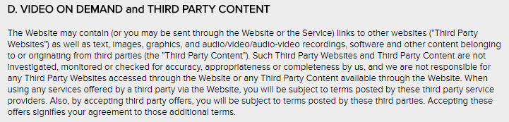 VOD terms
