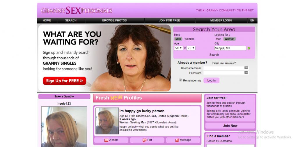 GrannySexPersonals.com screencap