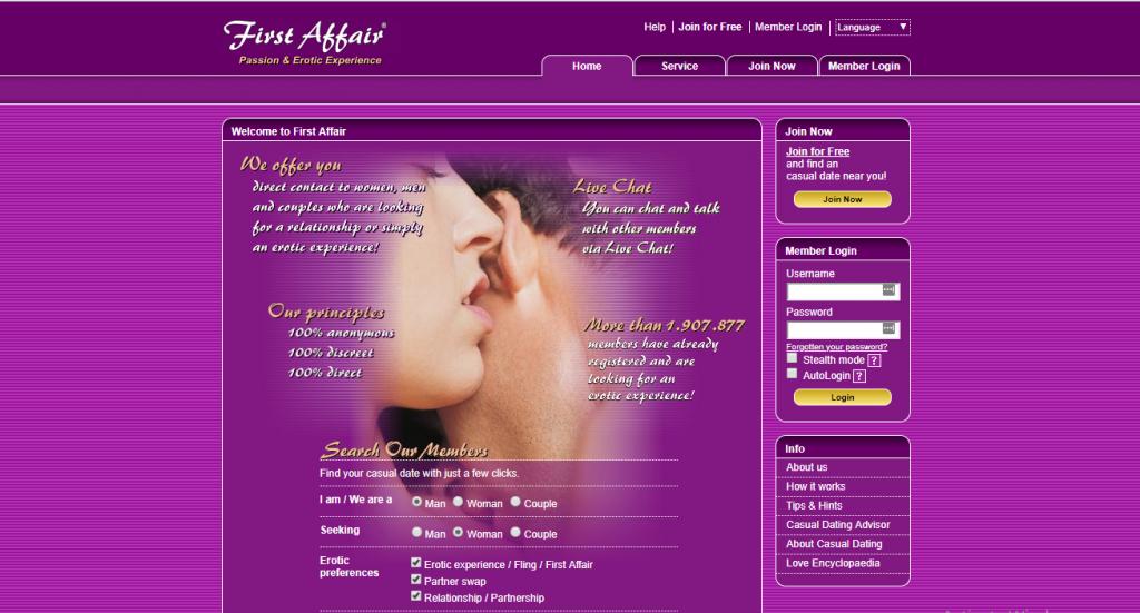 FirstAffair.com screencap
