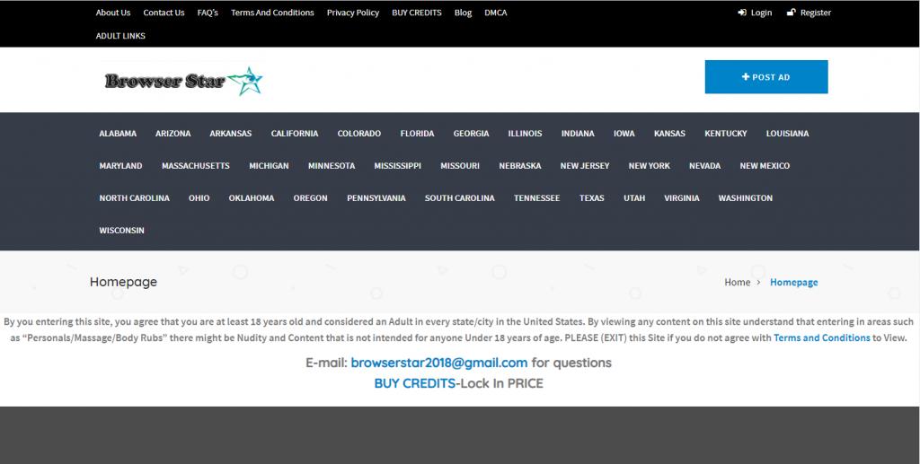 Browser Star classifieds screenshot