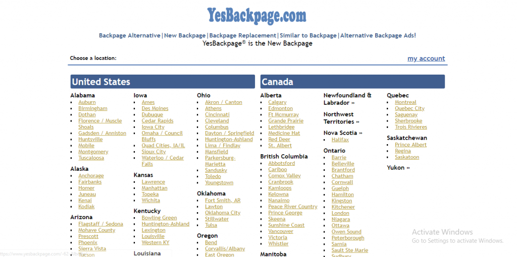 YesBackpage review screenshot