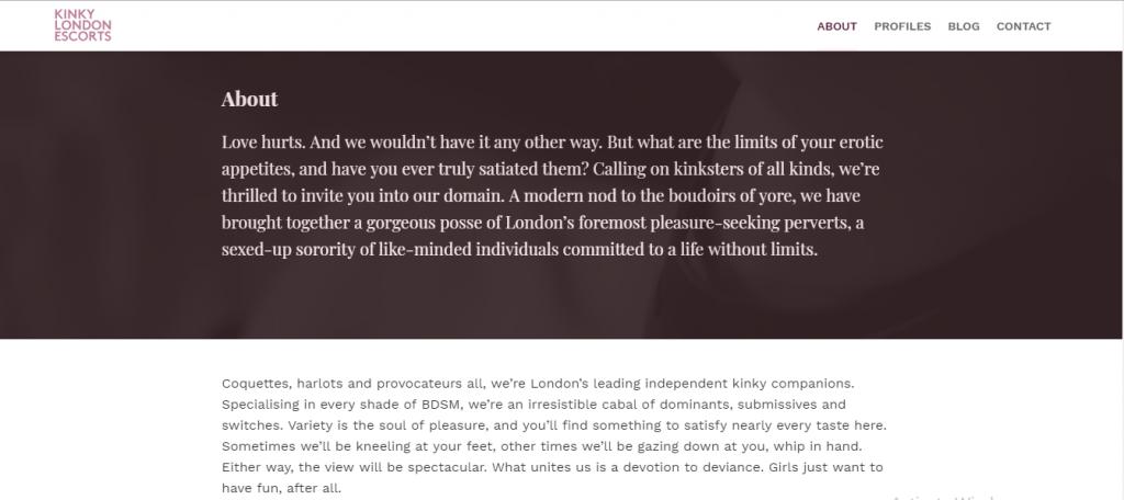 Kinky London Escorts Review screenshot