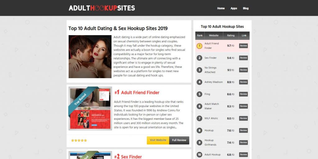 Adult Hookup Sites reviews home page